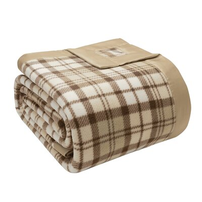 Abingdon Micro Fleece Blanket Size: Twin, Color: Tan Plaid