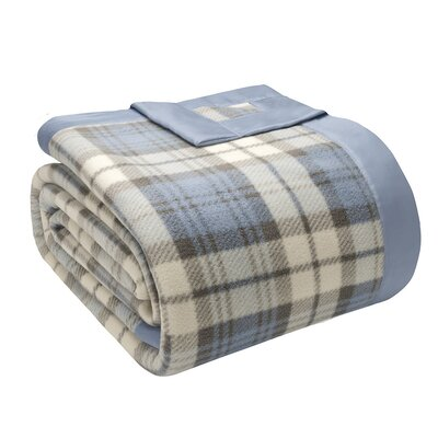 Abingdon Micro Fleece Blanket Size: Full / Queen, Color: Blue Plaid