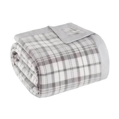 Abingdon Micro Fleece Blanket Size: Twin, Color: Gray Plaid
