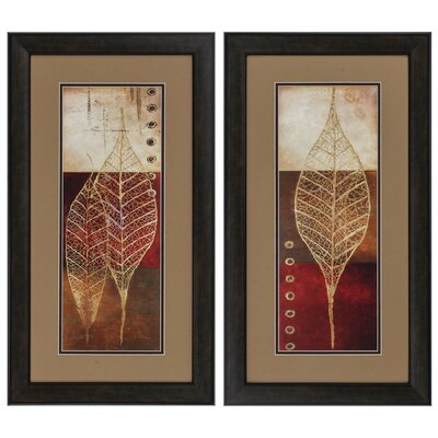 2-Piece Fossil Leaves Framed Graphic Art Charlton Home