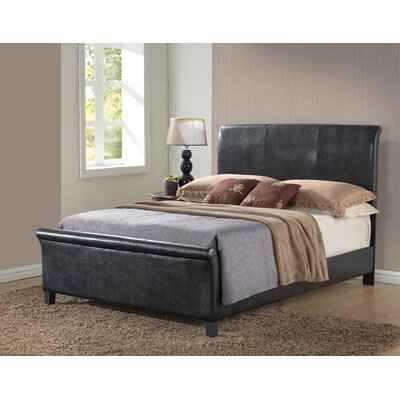 Newbury Upholstered Sleigh Bed Upholstery: Black, Size: Queen