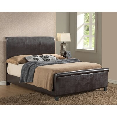 Newbury Upholstered Sleigh Bed Size: Twin, Color: Cappuccino