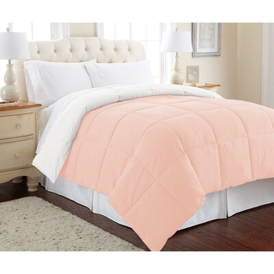 Down Alternative Reversible Comforter Size: Full/Queen, Color: Blush/White