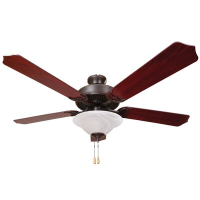 Bank 52 5-Blades Ceiling Fan Finish: Oil Rubbed Bronze/Cherry