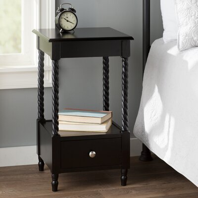 Pratolina 1 Drawer Nightstand Color: Black