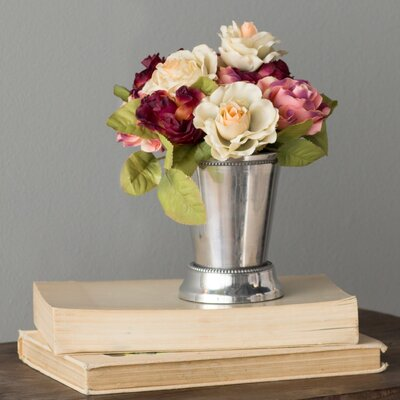 Faux Preserved Roses in Mint Julep Vase