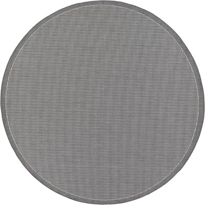 Ariadne Saddle Stitch Gray Indoor/Outdoor Area Rug Rug Size: Round 76