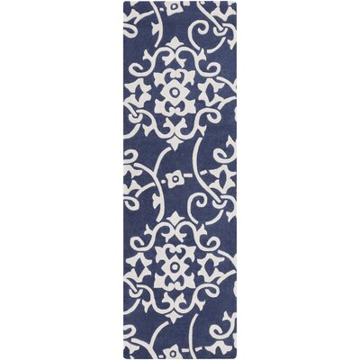 Windsor Hand-Tufted Navy/White Area Rug Rug size: Runner 2'6