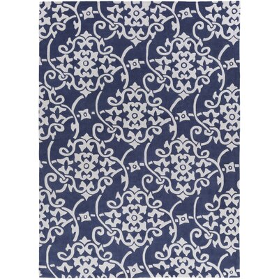 Windsor Hand-Tufted Navy/White Area Rug Rug size: 8 x 11