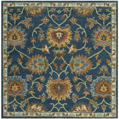 Cranmore Hand-Tufted Brown/Blue Area Rug Rug Size: Square 6
