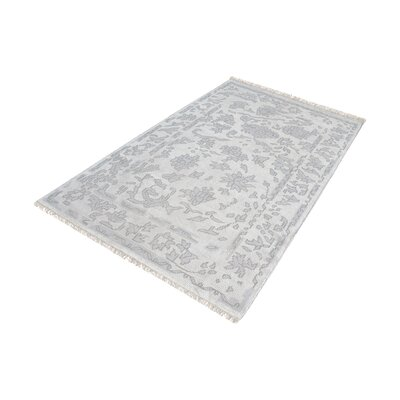 Kinkade Hand-Knotted Silver/Ivory Area Rug Rug Size: Rectangle 8 x 10