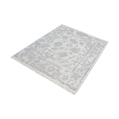 Kinkade Hand-Knotted Silver/Ivory Area Rug Rug Size: Square 6