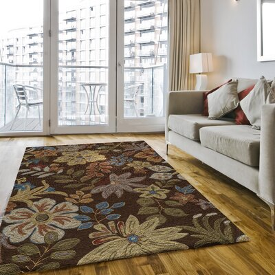 Ophelia Hand-Hooked Brown Area Rug Rug Size: Rectangle 5 x 76