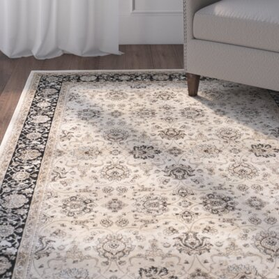 Petronella Ivory/Black Area Rug Rug Size: Rectangle 8 x 11