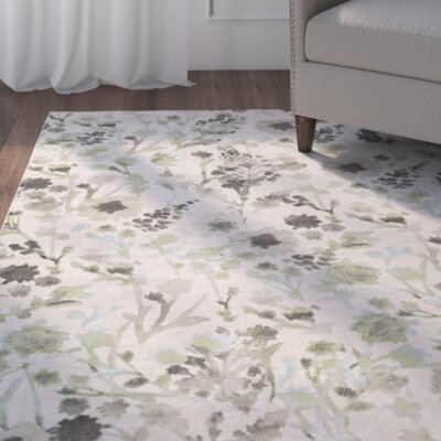 Cary White/Green Area Rug Rug Size: 52 x 76