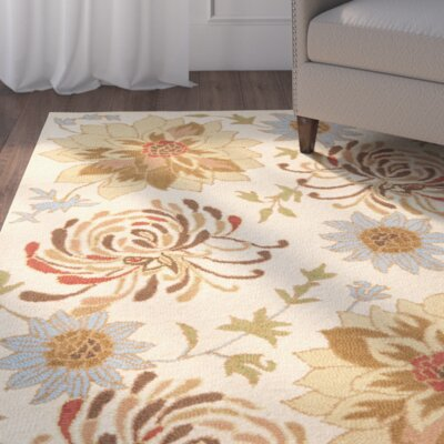 Bradwood Hand-Hooked Beige / Multi Contemporary Rug Rug Size: Rectangle 4 x 6