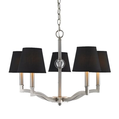 Bain 5-Light Shaded Chandelier Shade Color: Silken Black Tuxedo