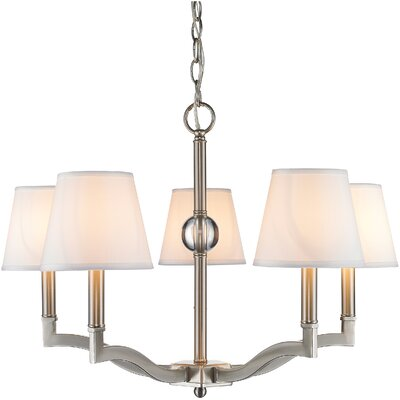 Bain 5-Light Shaded Chandelier Shade Color: Classic White