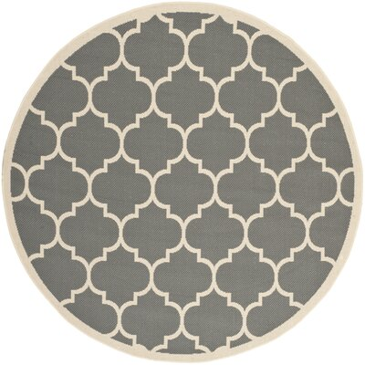 Alderman Anthracite/Beige Outdoor/Indoor Area Rug Rug Size: Round 53