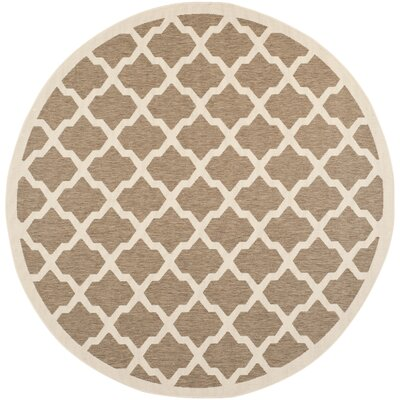 Octavius Indoor/Outdoor Brown Area Rug Rug Size: Round 710