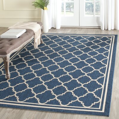 Octavius Navy/Beige Outdoor Area Rug Rug Size: Rectangle 86 x 118