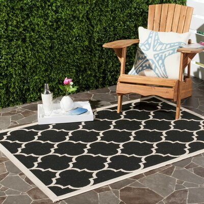Octavius Black/Beige Indoor/Outdoor Area Rug Rug Size: Rectangle 9 x 12