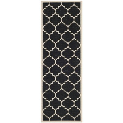 Alderman Black/Beige Indoor/Outdoor Area Rug Rug Size: Runner 23 x 14