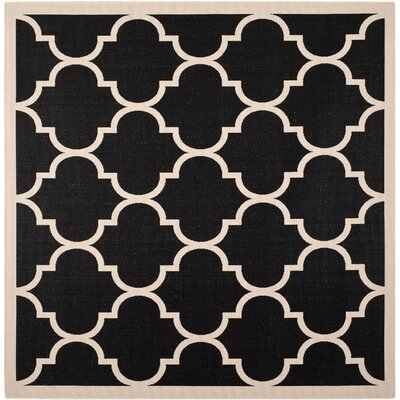 Alderman Black/Beige Indoor/Outdoor Area Rug Rug Size: Square 5'3