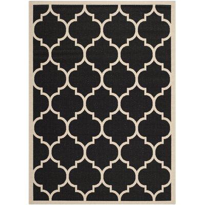 Alderman Black/Beige Indoor/Outdoor Area Rug Rug Size: 8 x 11