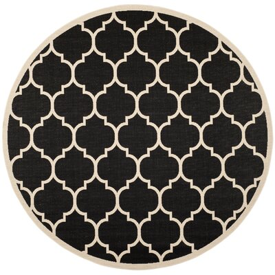 Alderman Black/Beige Indoor/Outdoor Area Rug Rug Size: Round 710