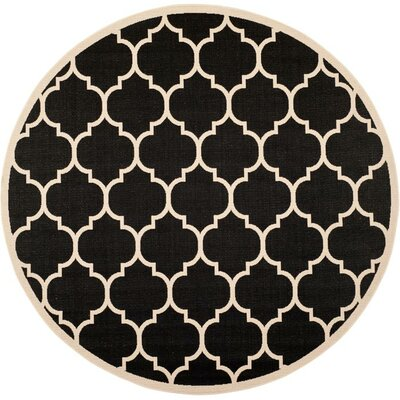 Octavius Black/Beige Indoor/Outdoor Area Rug Rug Size: Round 53