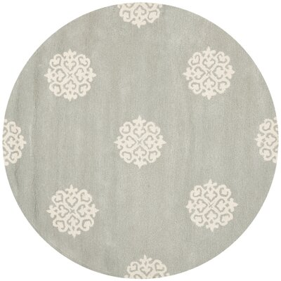 Backstrom Hand-Tufted Gray/Ivory Area Rug Rug Size: Round 4