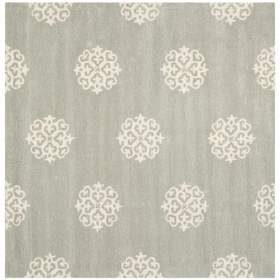 Backstrom Hand-Tufted Gray/Ivory Area Rug Rug Size: Square 4