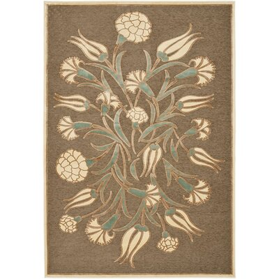 Floral Arabesque Hand-Loomed Brown Area Rug Rug Size: 53 x 76