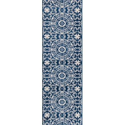 Giles Petra Palatial Navy Blue/White Area Rug Rug Size: Runner 23 x 73