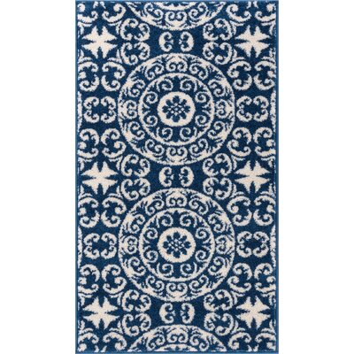 Giles Petra Palatial Navy Blue/White Area Rug Rug Size: 33 x 47
