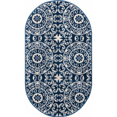 Giles Petra Palatial Navy Blue/White Area Rug Rug Size: Rectangle 33 x 47