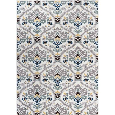 Harper Geometric Darling Floral White Area Rug Rug Size: 53 x 73