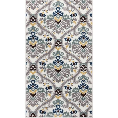 Harper Geometric Darling Floral White Area Rug Rug Size: 33 x 47