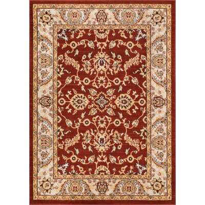 Giles Traditional Red Area Rug Rug Size: 93 x 126