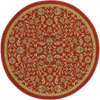 Addieville Red Area Rug Rug Size: Round 43