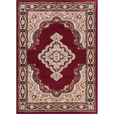 Bungalow Red Area Rug Rug Size: 93 x 126