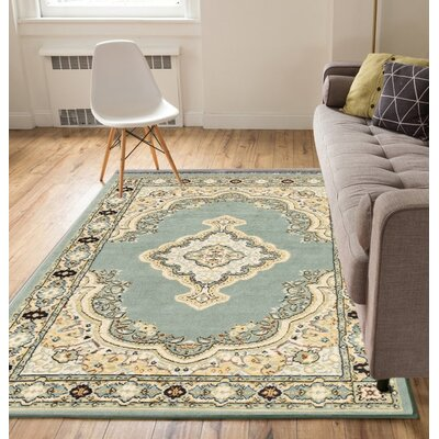 Bungalow Blue/Beige Area Rug Rug Size: Rectangle 5 x 7