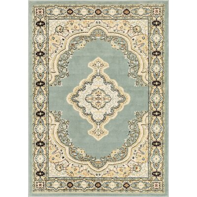 Bungalow Blue/Beige Area Rug Rug Size: 93 x 126