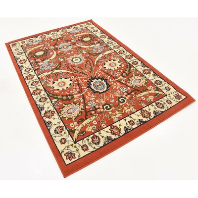 Antoinette Terracotta Area Rug Rug Size: Rectangle 4 x 6