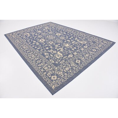 Apple Crest Blue Outdoor Area Rug Rug Size: 7 x 10