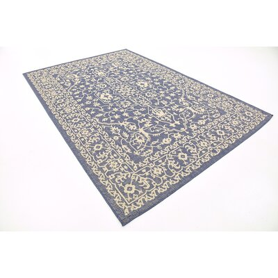 Apple Crest Blue Outdoor Area Rug Rug Size: 6 x 9