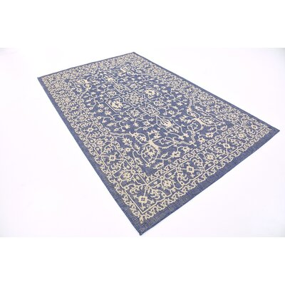 Apple Crest Blue Outdoor Area Rug Rug Size: 5 x 8