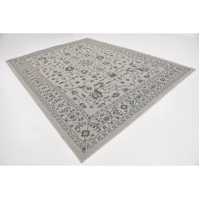 Appletree Light Gray Outdoor Area Rug Rug Size: Rectangle 9 x 12