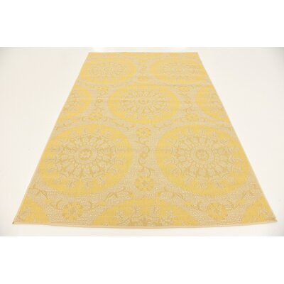 Arabian Yellow Outdoor Area Rug Rug Size: 53 x 8